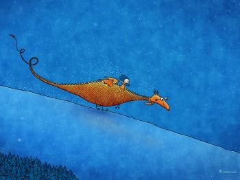 Weihnachtskarte mit Drachen kostenlos